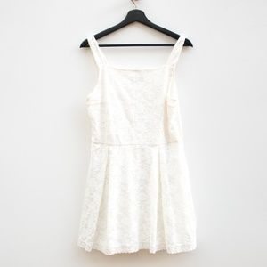 Topshop | Cream Lace Tank Top Skater Mini Dress